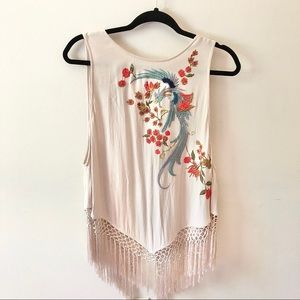 Free People Boho Embroidered Fringe Tank Top
